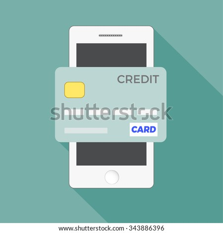 Flat design style vector illustration of modern smartphone with processing of mobile payments from credit card on the screen. Near field communication technology concept. Isolated on red background