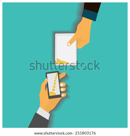 Flat design style vector illustration. Smartphone with processing of mobile payments. Communication technology concept. Isolated on green background - stock vector