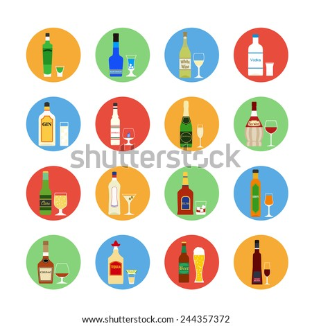 Flat design style vector illustration symbol collection icons.  Set of popular various alcoholic beverages with glasses. - stock vector