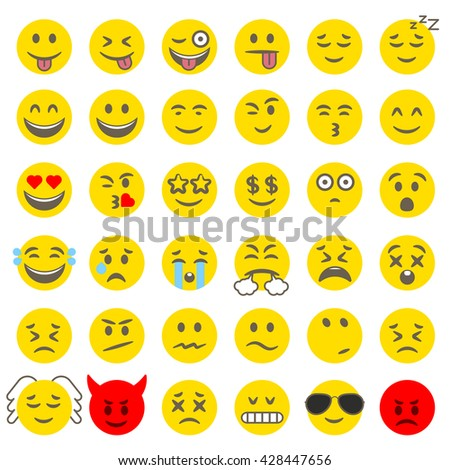 Flat design style vector smile icon set. 36 emoticons.
