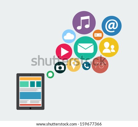 Flat design tablet device icon with applications elements illustration for websites, background or business design - stock vector