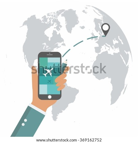 Flat design travel app mobile ui vectores en stock 369162752 flat design travel app mobile ui mock up on trendy world map background gumiabroncs Gallery
