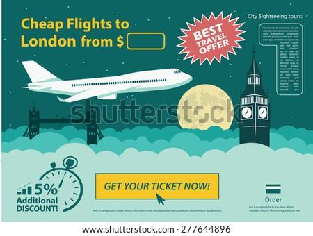 Flat design travel banner - London UK - vector illustration  - stock vector
