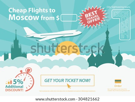 Flat design travel banner - Moscow Russia - vector illustration  - stock vector