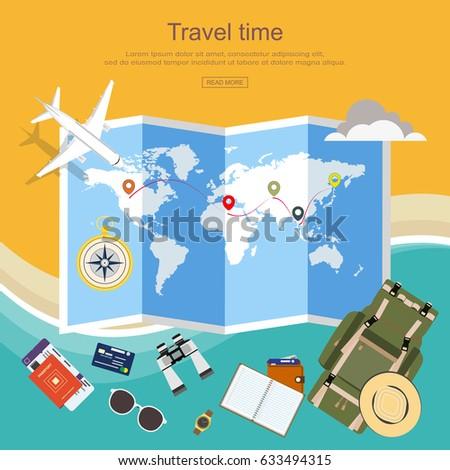 Flat design travel planner travel around vector de stock633494315 flat design travel planner travel around the world with luggage passport flight ticket gumiabroncs Choice Image