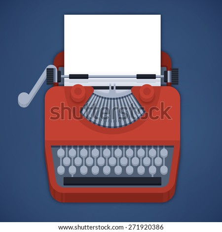 Flat design typewriter with space for user's content and copy. - stock vector