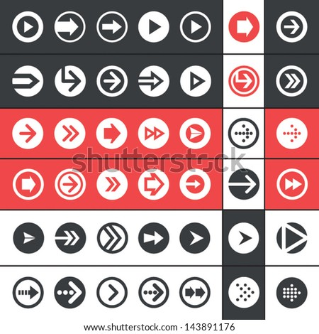 Flat design UI arrow icons vector set for mobile apps and web design. - stock vector