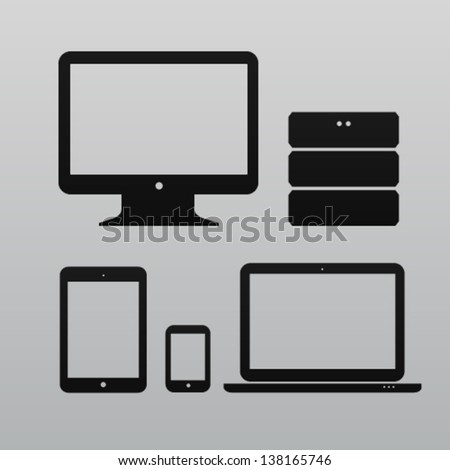 Flat design ui device icons of pc, monitor, database, pda, phone on light background - stock vector