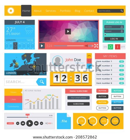 Flat design ui kit for web aplications and web design - stock vector