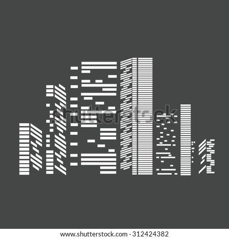 Flat design urban landscape illustration. City vector illustration.Cityscape background for your design, urban art - stock vector