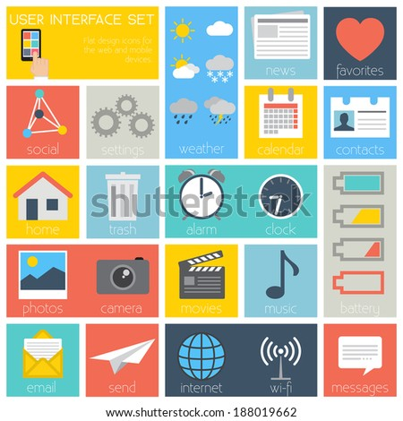 Flat Design User Interface Set - icons and web and mobile elements - vector EPS10 - stock vector