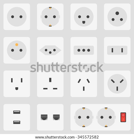 Flat Design Various White Electrical Outlet Power Socket Types Icon Set