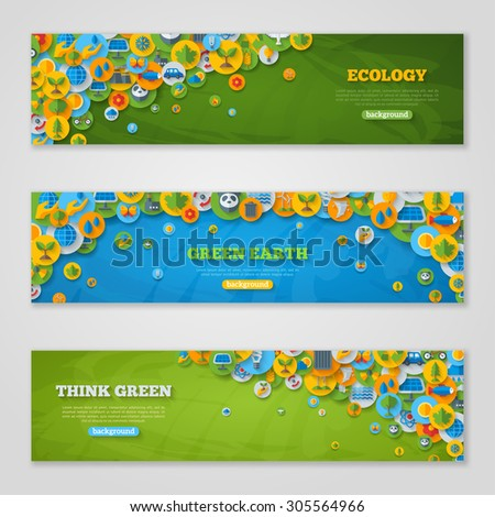 Flat Design Vector Banners with Icons of Ecology, Environment, Green Energy and Pollution. Save World. Save the Planet. Save the Earth. Creative Concept of Eco Technology. Think Green. - stock vector