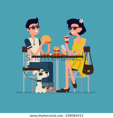 Flat design vector characters on Young people. Man and girl at street Coffee with dog. - stock vector