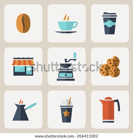 Flat design vector coffee icons set over white background - stock vector