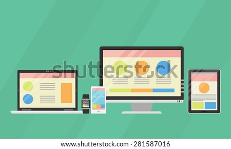 Flat design vector collection of modern digital devices. Computer, laptop, tablet, smartphone, smart watches - stock vector