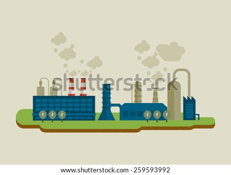 Flat design vector concept illustration infographic elements with icons of industrial factory buildings. Pollution.