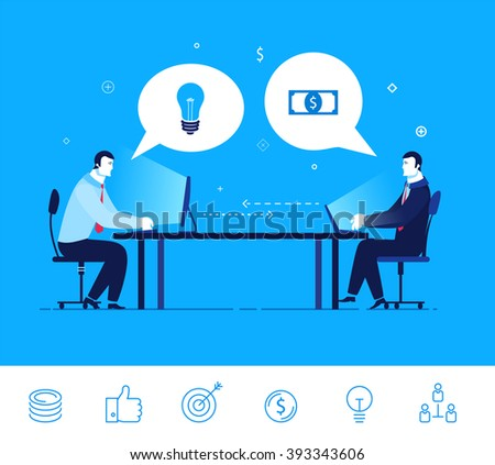 Flat design vector concept illustration. Two businessman discuss good deal. Exchange of ideas on the money.  Good profit. Vector clipart. Icons set. - stock vector