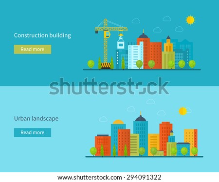 Flat design vector concept illustration with icons of building construction, city life and urban landscape. Concept vector Illustration in flat style design. Real estate concept illustration.  - stock vector