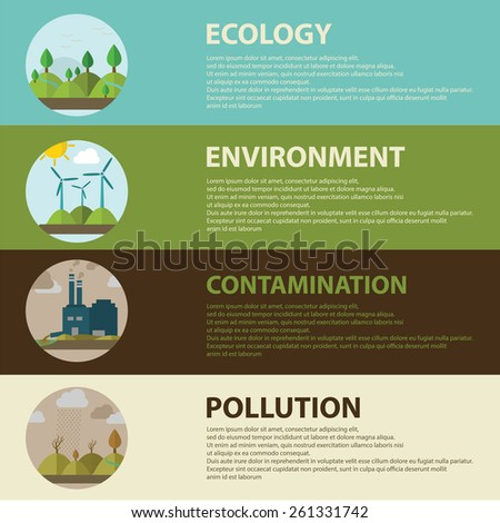 Flat design vector concept illustration with icons of ecology, environment, green energy and pollution. web banner. - stock vector
