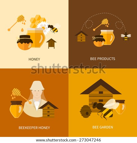 Flat design vector concept illustration with icons of  products bee-keeper, best product organic natural honey bee and beekeeper honey - stock vector