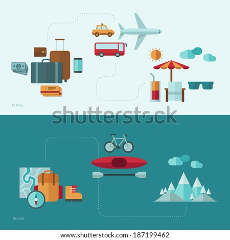 Flat design vector concept illustration with icons of travel and vacation - stock vector