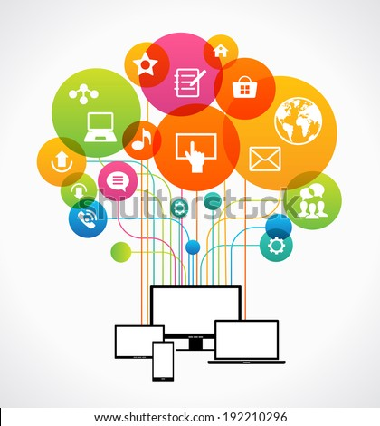 Flat design vector concept network communication. Smartphone, tablet, laptop, monitor surrounded interface icons and abstract network as a tree. File is saved in AI10 EPS version.  - stock vector