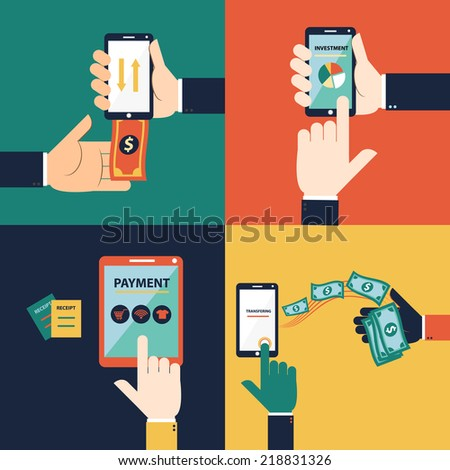 Flat design vector concept of mobile banking or online banking. This set consist of withdraw money, deposit money, Transferring Money and payment  - stock vector