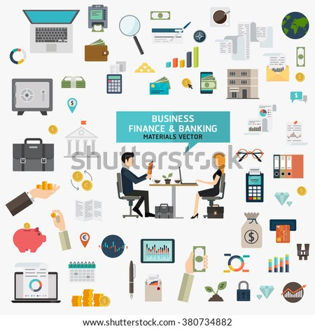 Flat design vector concept with icons set of modern development business finance and banking working elements materials - stock vector