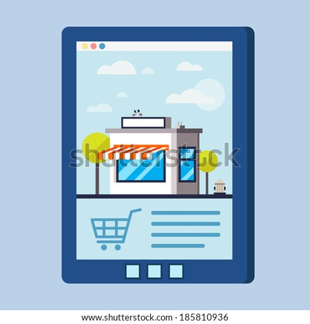 Flat design vector concept with shop illustration of buying products via on line shop, store, e-commerce ideas, e-commerce symbols, sale, internet shopping elements. Isolated on stylish background. - stock vector