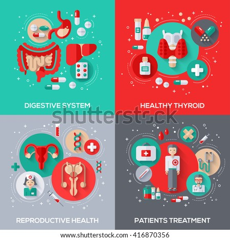 Flat Design Vector Concepts Illustration About Medicine. Digestive System, Healthy Thyroid, Patient Treatment, Reproductive Health Medical Icons.