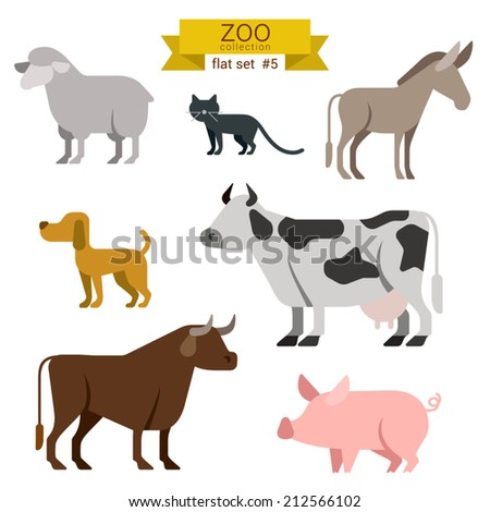 Flat design vector farm animals icon set. Sheep, cat, donkey, dog, cow, bull, pig Flat zoo children cartoon collection. - stock vector