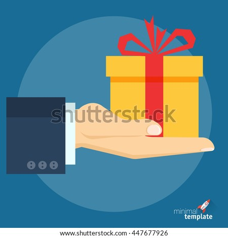 Flat design vector hand with gift box icon for application interface, presentation and web design. The concept template for special offer, Christmas and New Year, gift option, sale and discount. - stock vector