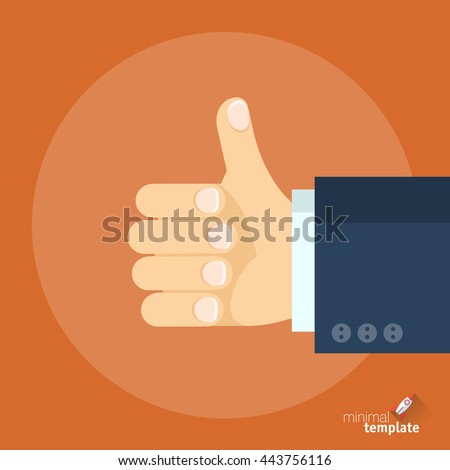 Flat design vector icon of hand thumb up symbol. Flat style social network vector like con for app and web, flat icon logo for application interface, presentation and web design and social network.