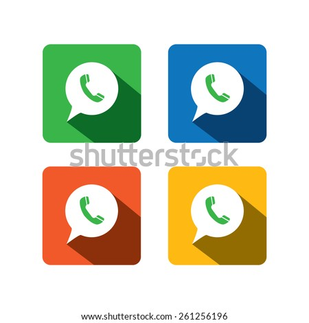 flat design vector icon of phone receiver for chat interaction on internet, mobile phones, social media sites - social media graphic collection set - stock vector