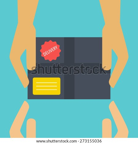 Flat design vector illustration concept for delivery service. Delivery courier - stock vector