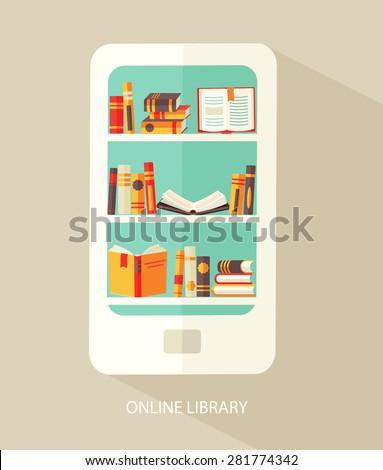 Flat design vector illustration concept for digital library, online book store, e-reading, vector. - stock vector
