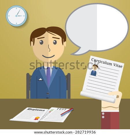 Flat design vector illustration concept for job interview, Hand Holding CV Profile talking to Candidate on Position - stock vector