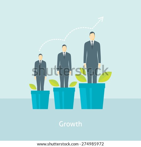 Flat design vector illustration concept for personal development, professional growth, human resources management, career achievements isolated on bright background - stock vector