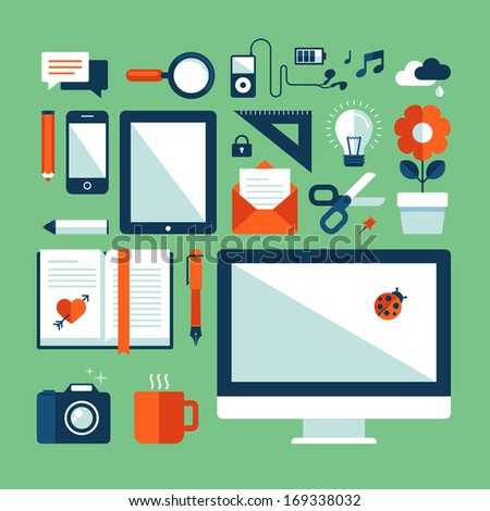 Flat design vector illustration concept icons set of business working elements for office, communication, designs development, social media, mobile devices, advertising. - stock vector
