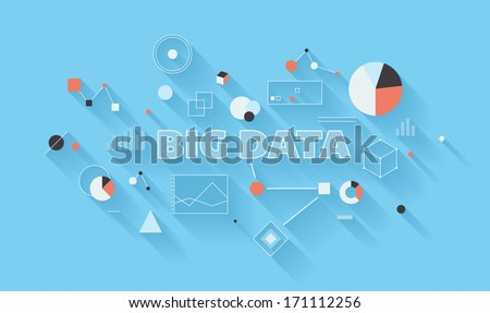 Flat design vector illustration concept of big data statistics and search analysis, complex process of advanced analytics, communication technology and large database research in different industry. - stock vector