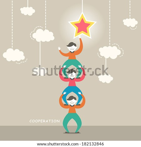 flat design vector illustration concept of cooperation - stock vector