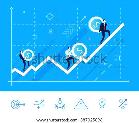 Flat design vector illustration concept of team work. Businessmen go on growing arrow with money. Vector clipart. Icons set. - stock vector