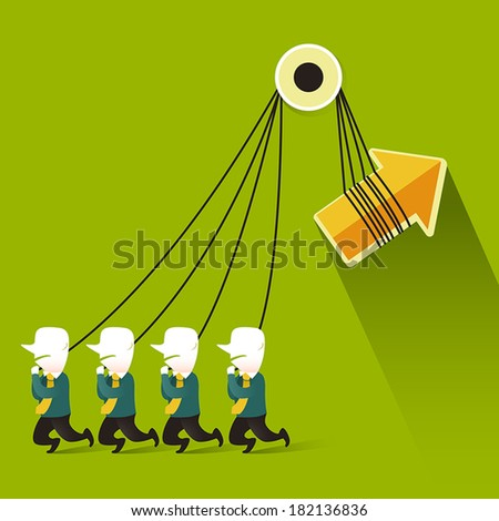flat design vector illustration concept of teamwork - stock vector
