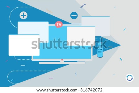 Flat design vector illustration concept of TV - stock vector