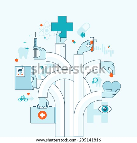 Flat design vector illustration concept on medicine theme. Concepts for web banner and printed materials.  - stock vector