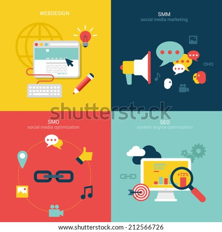 Flat design vector illustration concept process icons set of modern webdesign, seo, smo and smm. New trend social media and online promotion search engine optimization. Big flat processes collection. - stock vector