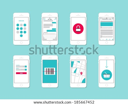 Flat design vector illustration concept set of modern mobile phone with application user interface elements, forms, icons, buttons, security and login information, internet shopping, web communication - stock vector