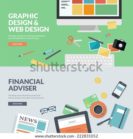 Flat design vector illustration concepts for graphic design and web design development, and financial adviser . Concepts for web banners, print templates, promotional materials.   - stock vector
