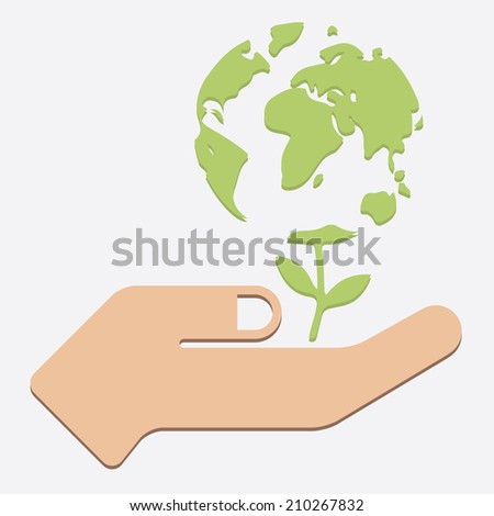 Flat Design Vector Illustration Concepts for Human Hands Holding Earth, Save the Earth - stock vector